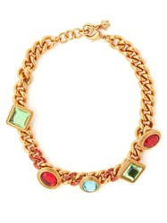 Versace Crystal Embellished Chain Necklace Multi