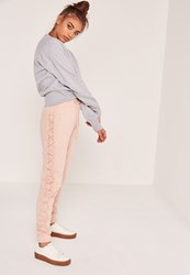 Missguided Nude Petite Lace Up Side Joggers