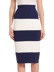 Kendall Kylie Striped Pencil Skirt Navy White
