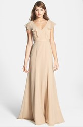 Women's Jenny Yoo 'Cecilia' Ruffled Chiffon Long Dress Champagne