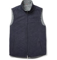 Isaia Reversible Suede And Shell Gilet Blue