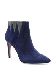 Kensie Tarquin Triangular Block Suede Dress Booties Navy Blue