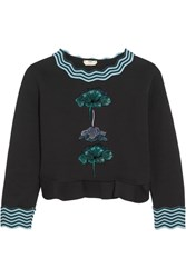 Fendi Embroidered Flocked Cotton Blend Peplum Sweatshirt Black