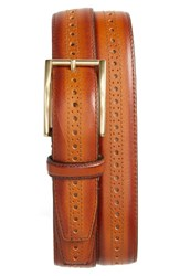 Cole Haan Men's Perforated Leather Belt British Tan