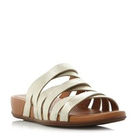 Fitflop Lumy Slide Multi Strap Wedge Sandals Gold Metallic