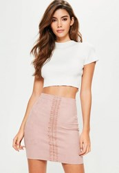 Missguided Pink Faux Suede Lace Detail Mini Skirt Blush
