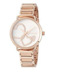 Michael Michael Kors 36.5Mm Crystal Heart Bracelet Watch Rose Gold