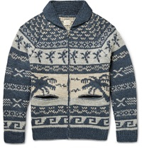 Faherty Alpaca And Wool Blend Jacquard Cardigan Blue