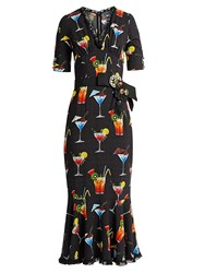 Dolce And Gabbana Cocktail Print Cady Midi Dress Black Multi