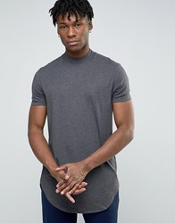 Asos Super Longline T Shirt With Turtle Neck And Curved Hem In Charcoal Marl Charcoal Marl Grey
