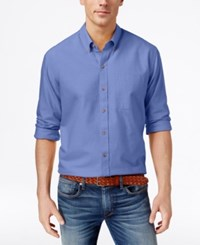 Cutter And Buck Men's Big And Tall Solid Oxford Long Sleeve Shirt Blue Gem