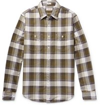 J.Crew Wallace And Barnes Slim Fit Checked Cotton Flannel Shirt Army Green