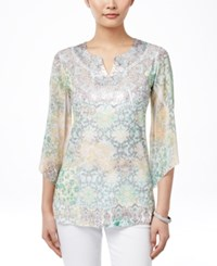 Jm Collection Petite Sublimated Print Embellished Blouse Only At Macy's Magic Stories