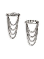 Marc Jacobs Safety Pin Layered Chain Stud Earrings Silver