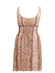 Emilia Wickstead Snakeskin Print Linen Dress Pink Print