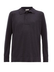 Margaret Howell Long Sleeved Wool Jersey Polo Shirt Grey