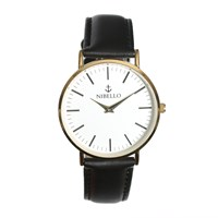 Nibello Watches Gold And White Mens Watch With Black Strap