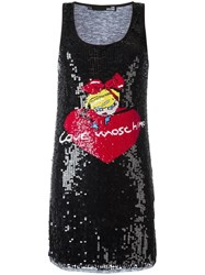 Love Moschino Sequinned Logo Tank Dress Black