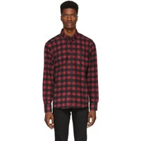 Naked And Famous Denim Red Brushed Buffalo Check Shirt