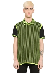 Christopher Kane Striped Cotton Blend Sweater Vest Black Green