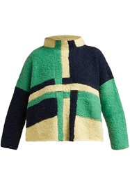 Eckhaus Latta Uni Weave Panelled Wool Blend Sweater Green Multi