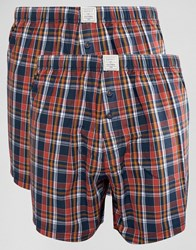 Esprit Woven 2 Pack Boxers In Regular Fit Red