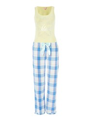 Lipsy Twinkle Star Vest And Checked Trouser Pj Set Yellow