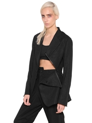 Yohji Yamamoto Cotton Gabardine Jacket With Zip Detail Black