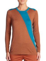 Akris Two Tone Cashmere And Silk Knit Pullover Moonstone Black Cigar Whirlaway