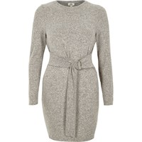 River Island Grey Ring Tie Long Sleeve Jumper Dress