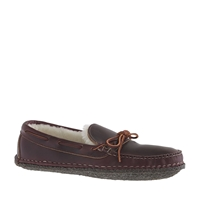Men's Quoddy For J.Crew Shearling Slippers Burgundy Chromexcel
