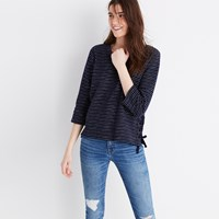 Madewell Striped Side Lace Top Deep Navy