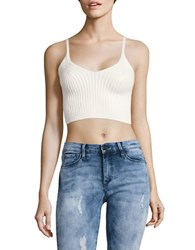 Free People Ribbed Knit Sleeveless Cropped Top White