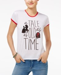 Mighty Fine Disney Juniors' A Tale As Old As Time Graphic Ringer T Shirt White Red