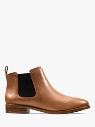 Clarks Taylor Shine Slip On Leather Ankle Boots Tan