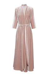 Luisa Beccaria Long Sleeve Velvet Wrap Dress Pink