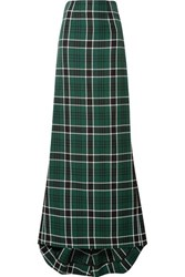 Rosie Assoulin Tie Back Checked Woven Maxi Skirt Green