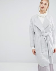 Paisie Wrap Cacoon Coat With Wide Belt Grey