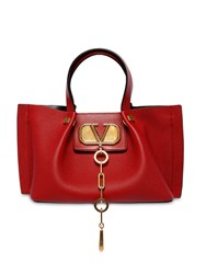 Valentino Garavani Small Vlogo Escape Leather Tote Bag Rosso
