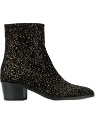 Jean Michel Cazabat Glitter Ankle Boots Black