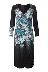 James Lakeland Rose Print Dress Aqua