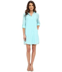 Kut From The Kloth Long Sleeve Shirt Dress Seafoam Women's Dress Green