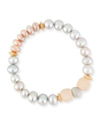 Akola Vail Pearly Pink Beaded Bracelet Gray Pink