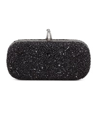 Marchesa Lily Medium Embroidered Stone Box Clutch Black