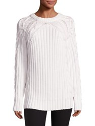 Rag And Bone Kiera Merino Wool Cotton Cable Knit Sweater Ivory