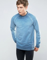 Only And Sons Crew Neck Sweat With Cut Sew Raglan Sleeve In Oil Wash Dark Navy
