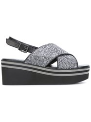 Robert Clergerie Glitter Crossover Wedges Black