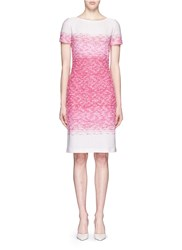 St. John 'Papillons' Ombre Tweed Knit Sheath Dress Pink