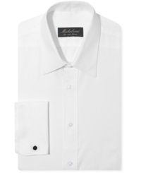 Michelsons Of London Chevron Texture Point French Cuff Tuxedo Shirt White