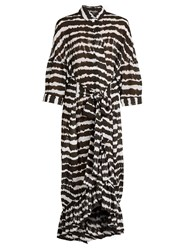 Preen Aspen Tie Dye Print Dress Black White
